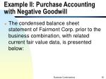 example ii purchase accounting with negative goodwill