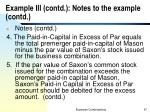 example iii contd notes to the example contd