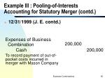 example iii pooling of interests accounting for statutory merger contd1