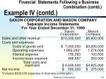 financial statements following a business combination contd example iv contd