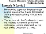 financial statements following a business combination contd example iv contd1