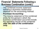 financial statements following a business combination contd
