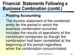 financial statements following a business combination contd1