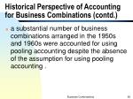historical perspective of accounting for business combinations contd