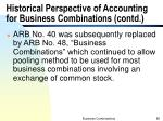 historical perspective of accounting for business combinations contd2