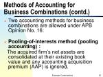 methods of accounting for business combinations contd