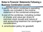 notes to financial statements following a business combination contd