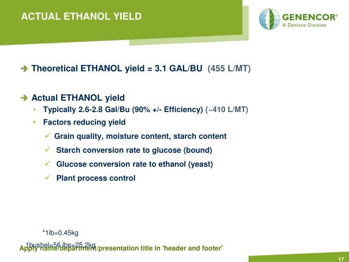 ACTUAL ETHANOL YIELD