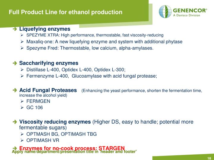 Full Product Line for ethanol production