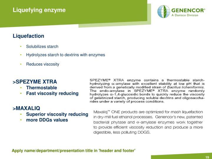 Liquefying enzyme