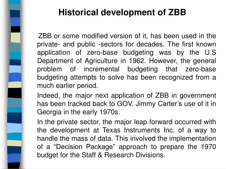 Historical development of ZBB