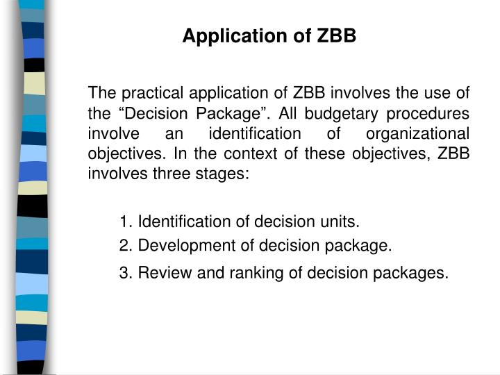 Application of ZBB