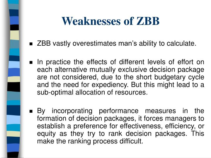 Weaknesses of ZBB