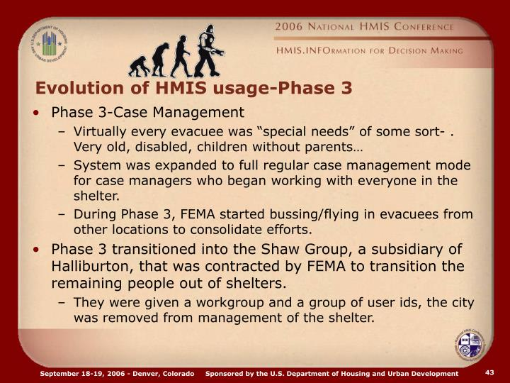 Evolution of HMIS usage-Phase 3