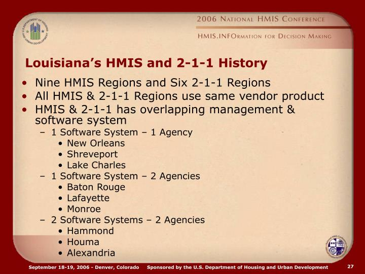 Louisiana's HMIS and 2-1-1 History
