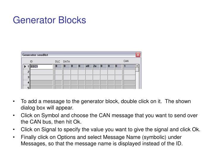 Generator Blocks