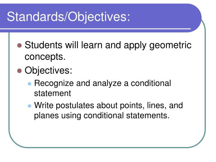 Standards objectives