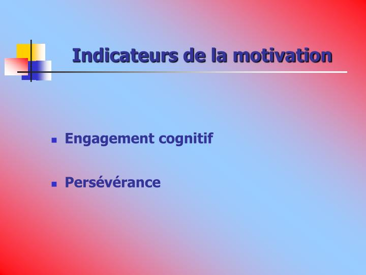Indicateurs de la motivation
