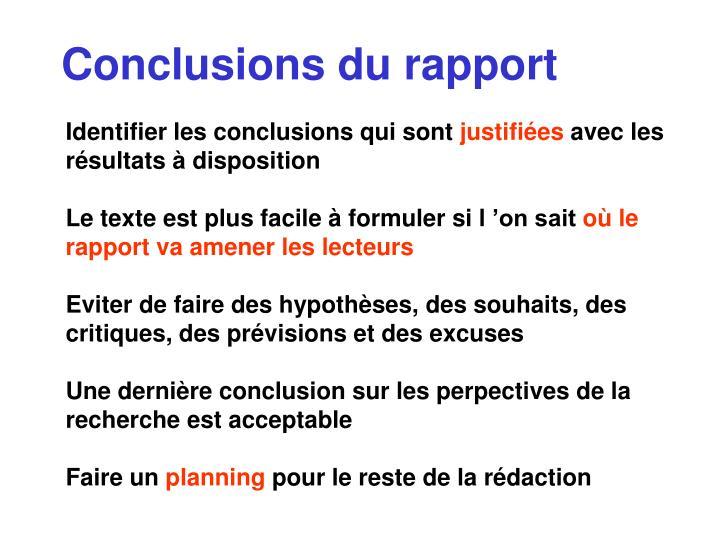 Conclusions du rapport