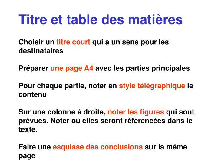Titre et table des matières