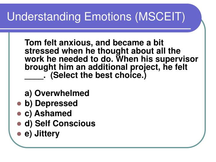 Understanding Emotions (MSCEIT)