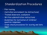 standardization procedures