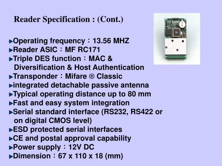 Reader Specification : (Cont.)