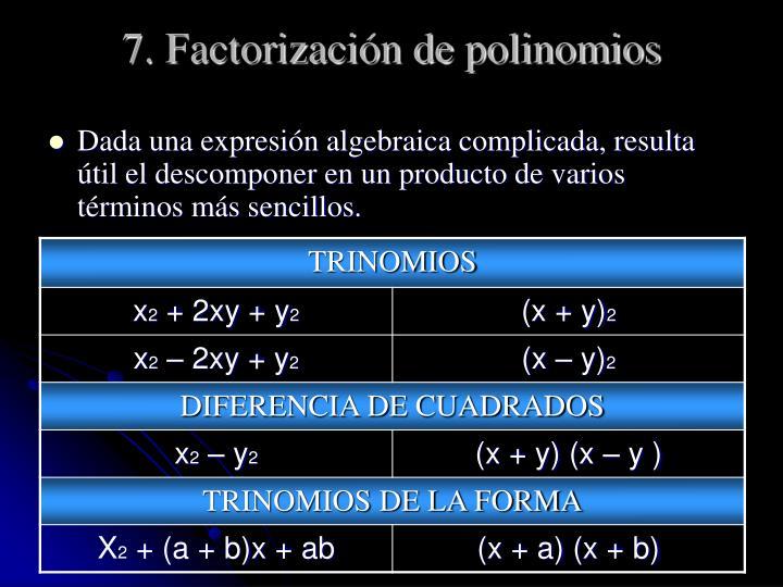 7. Factorización de polinomios