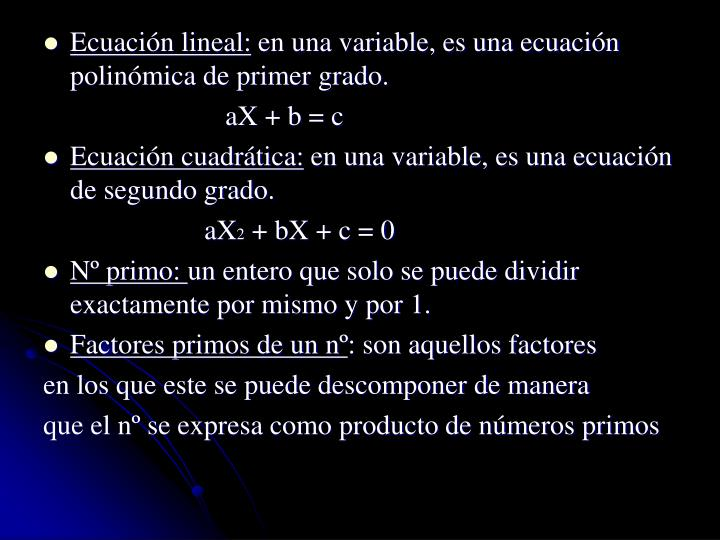 Ecuación lineal: