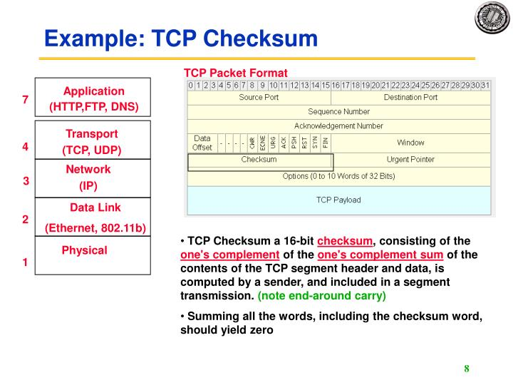 Example: TCP Checksum