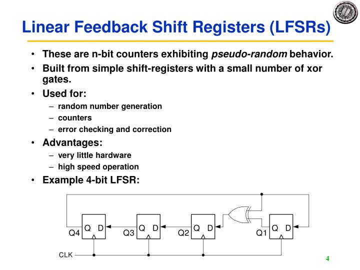 Linear Feedback Shift Registers (LFSRs)