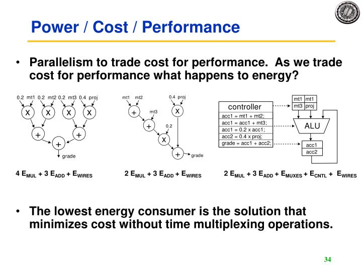 Parallelism to trade cost for performance.  As we trade cost for performance what happens to energy?
