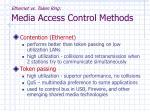 ethernet vs token ring media access control methods