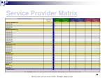 service provider matrix