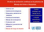 30 a os de evoluci n continua en la pr ctica de manejo de crisis o desastres