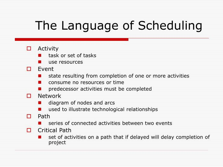 The Language of Scheduling