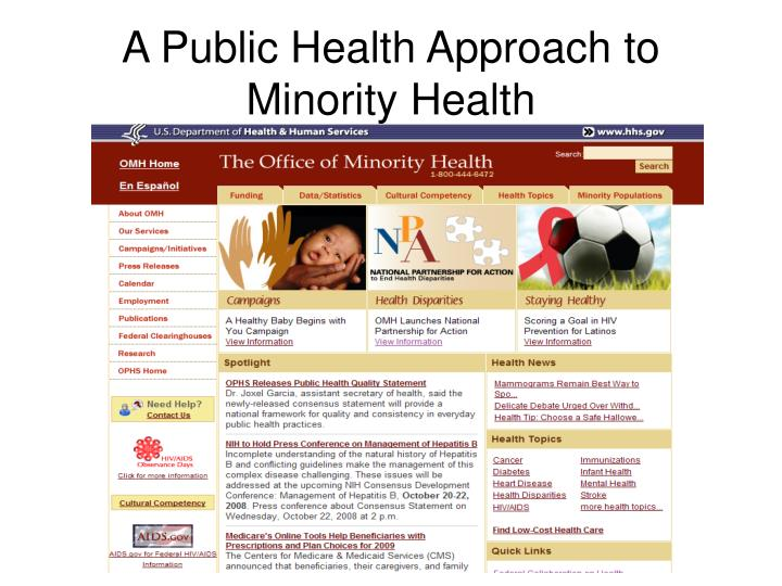 A public health approach to minority health