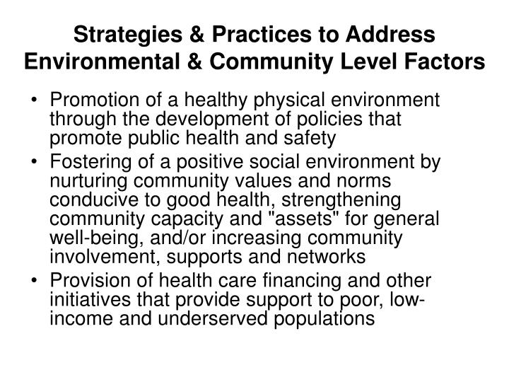 Strategies & Practices to Address Environmental & Community Level Factors