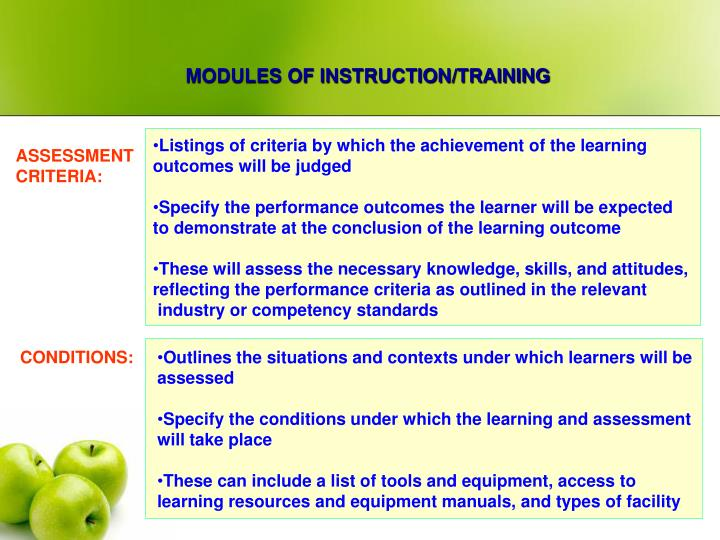 MODULES OF INSTRUCTION/TRAINING