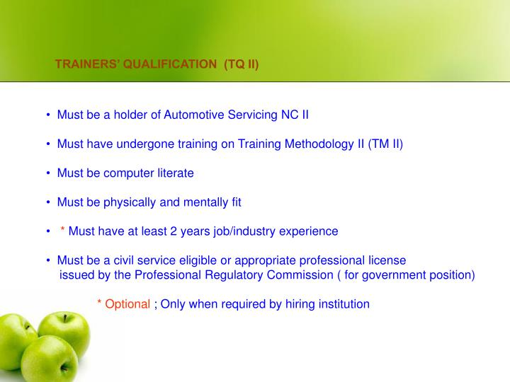 TRAINERS' QUALIFICATION  (TQ II)