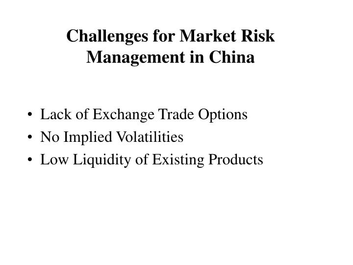 Challenges for Market Risk Management in China