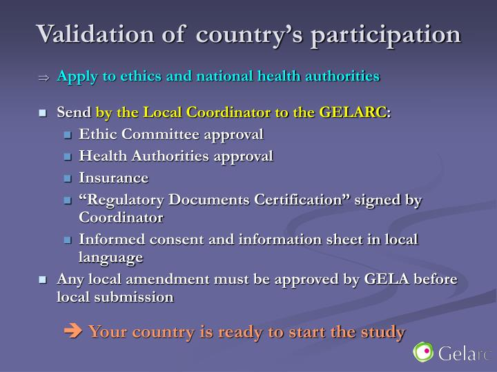 Validation of country's participation