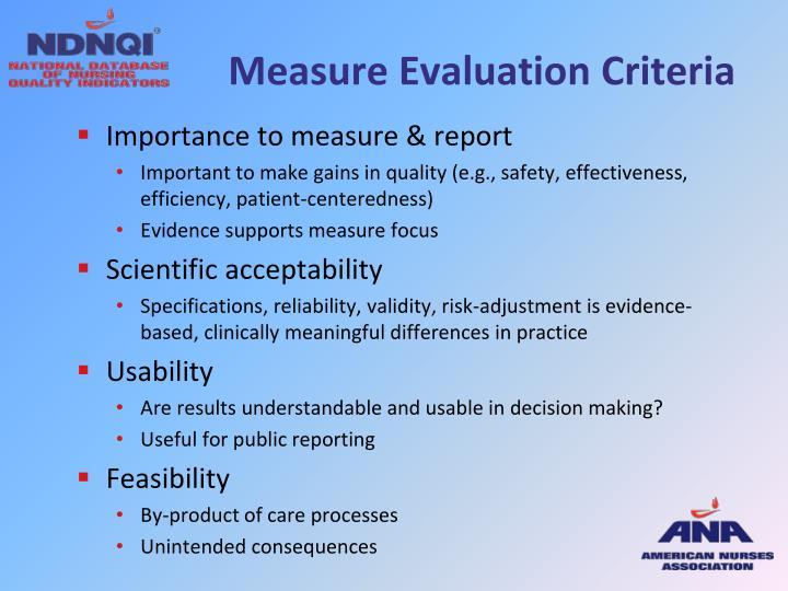 Measure Evaluation Criteria