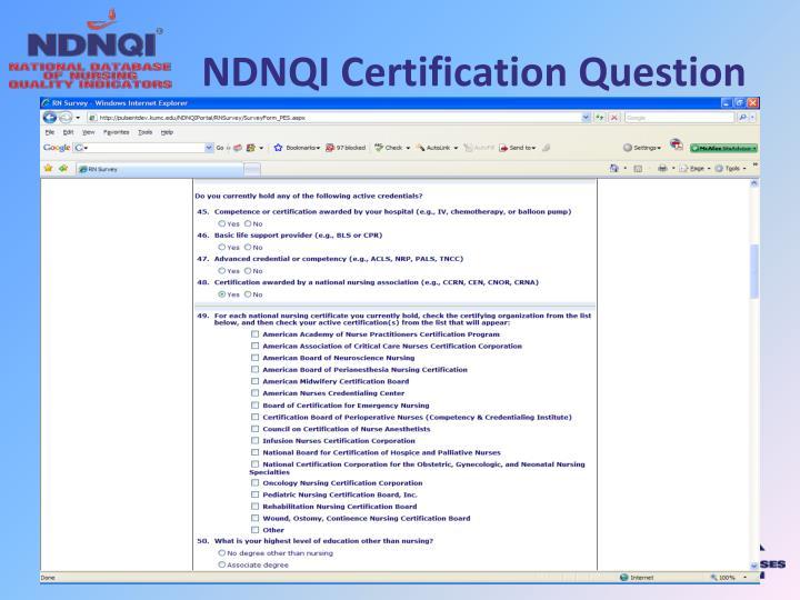 NDNQI Certification Question