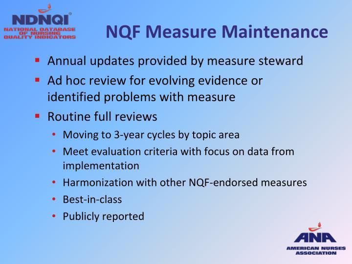 NQF Measure Maintenance