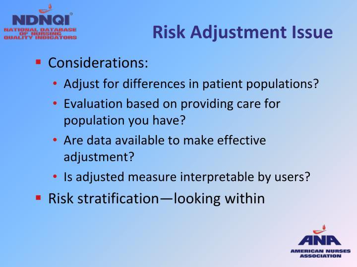 Risk Adjustment Issue
