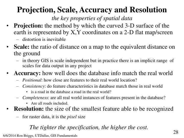 Projection, Scale, Accuracy and Resolution