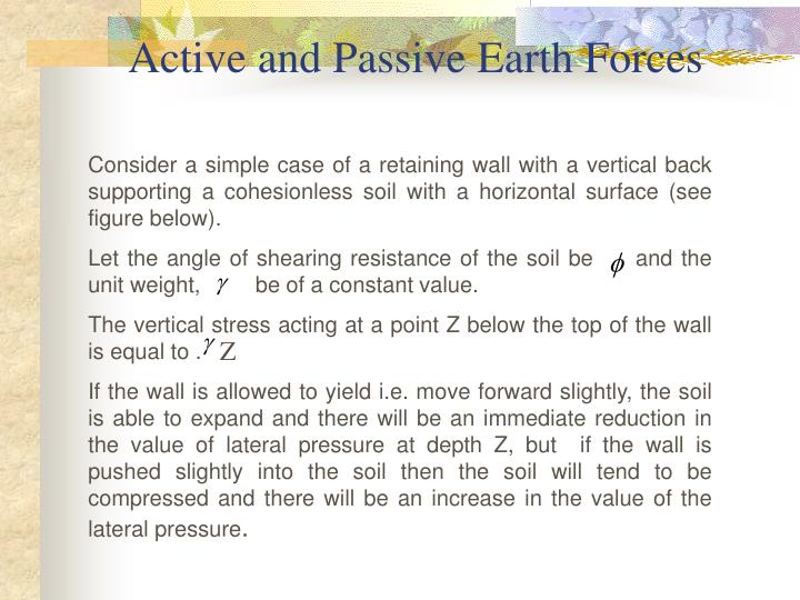 Active and Passive Earth Forces