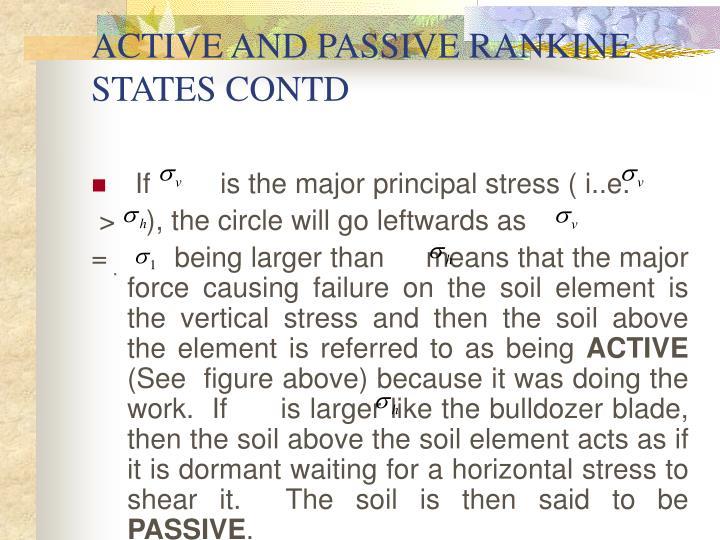 ACTIVE AND PASSIVE RANKINE STATES CONTD
