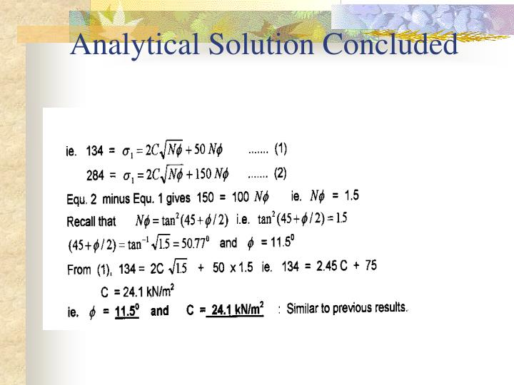 Analytical Solution Concluded